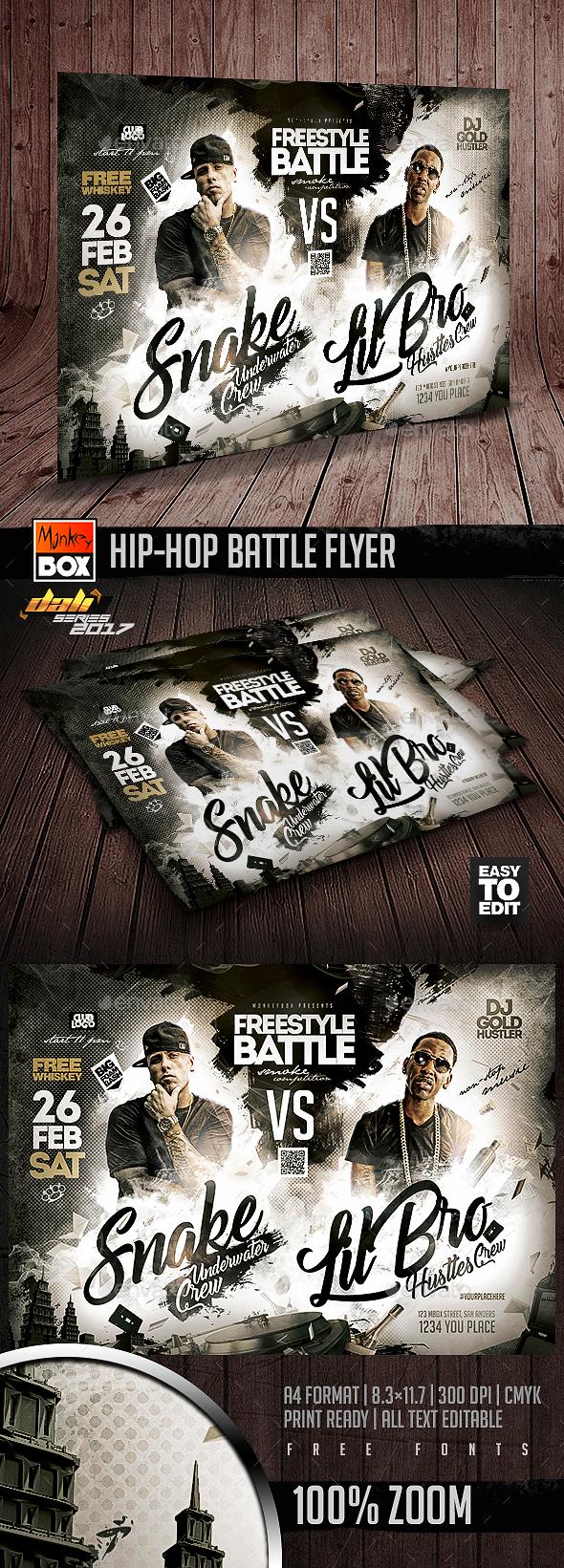 Hip-Hop Battle Flyer - Clubs & Parties Events