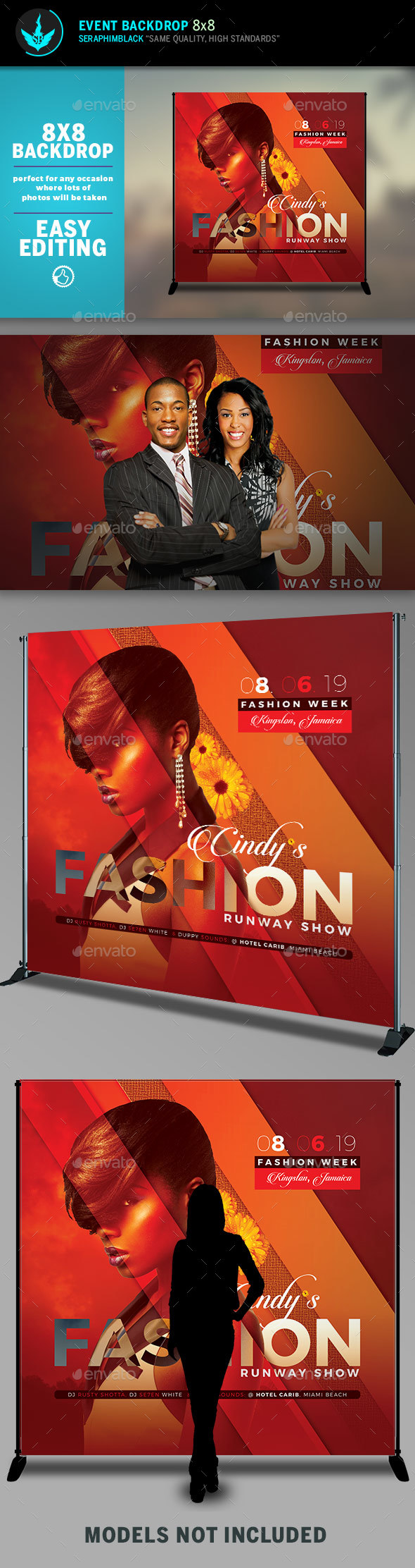 Fashion Conference 4 8x8 Event Backdrop Template - Signage Print Templates