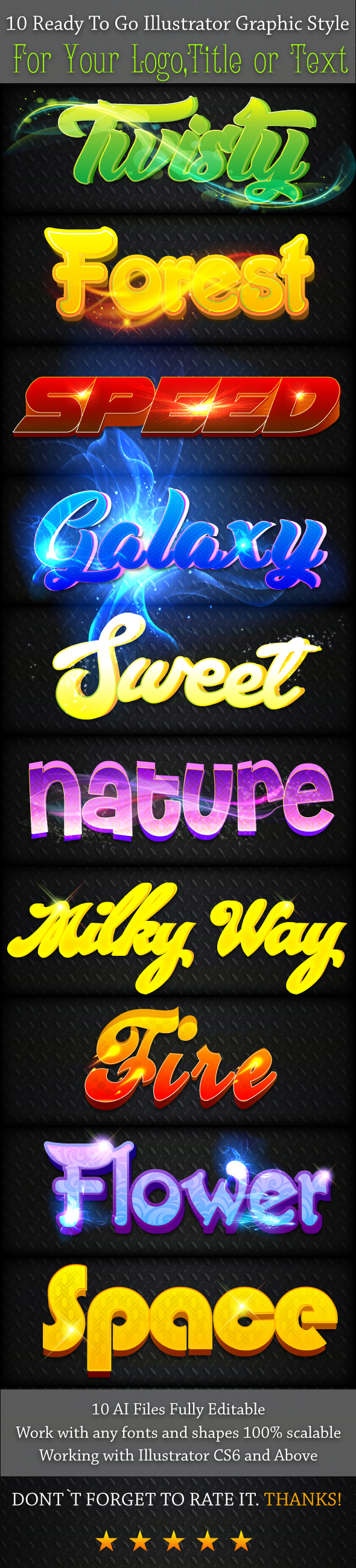 10 Font Illustrator Graphic Styles - Text Effects Actions