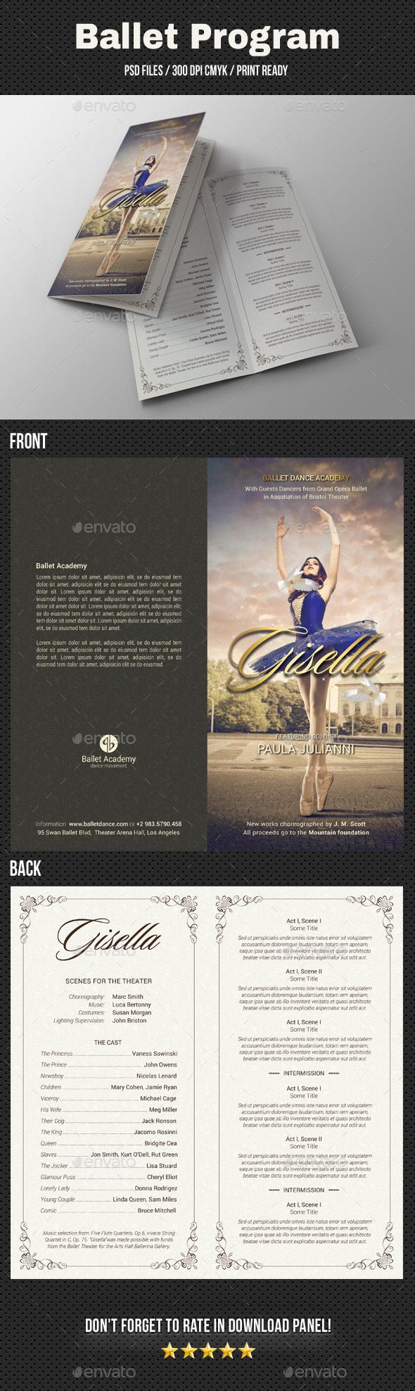 Ballet Program Bi-Fold Brochure - Brochures Print Templates