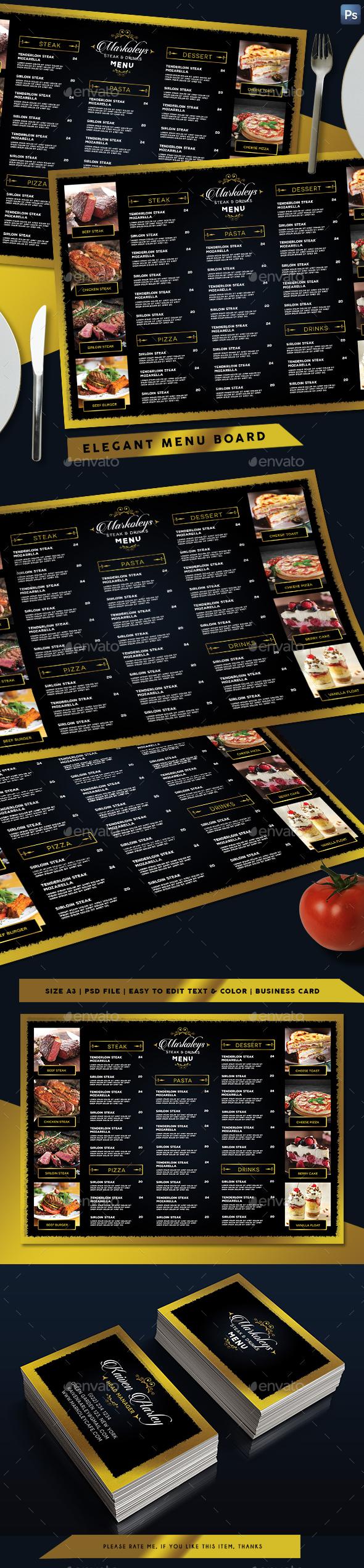 Elegant Restaurant Menu Board + Business Card - Food Menus Print Templates