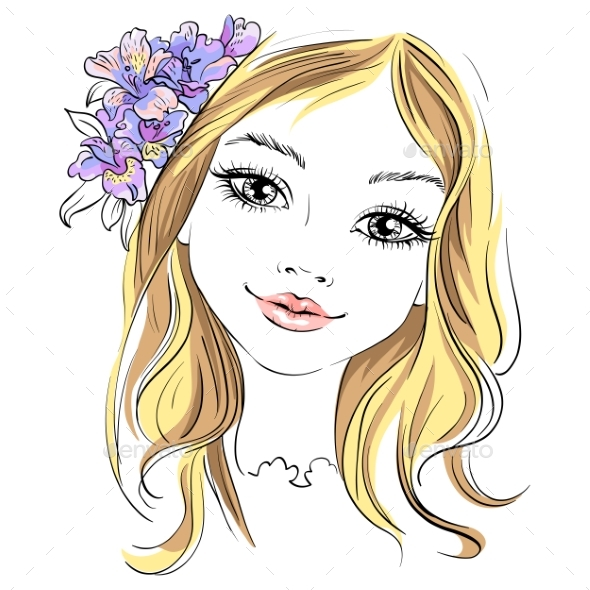 Vector Fashion Girl with Flower in Hair - Miscellaneous Vectors