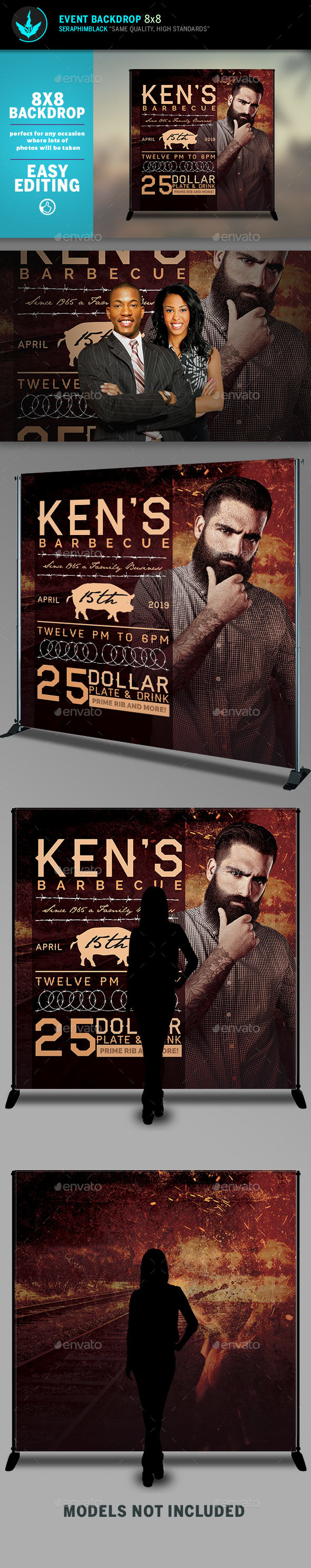 Barbecue 8x8 Event Backdrop Template - Signage Print Templates