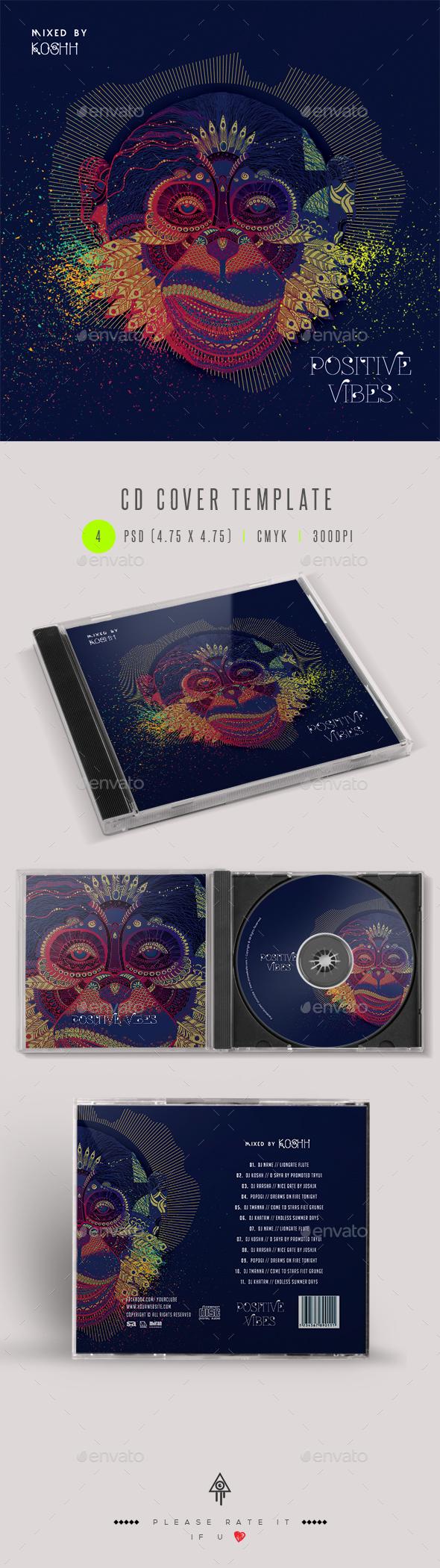 Positive Vibes - CD Cover Artwork - CD & DVD Artwork Print Templates