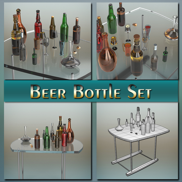 3DOcean Beer Bottle Set 20540771