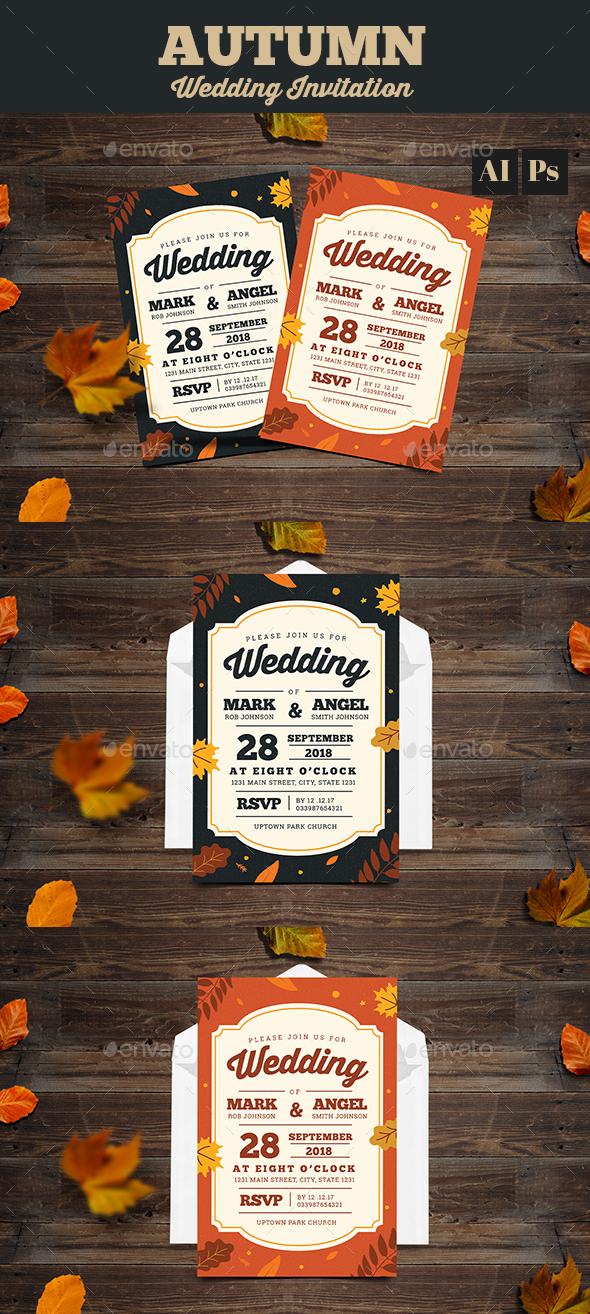 Autumn Wedding Invitation - Weddings Cards & Invites