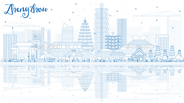 Outline Zhengzhou China Skyline with Blue Buildings and Reflections. - Buildings Objects