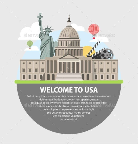 GraphicRiver Welcome To USA Promotional Poster with Famous 20540814