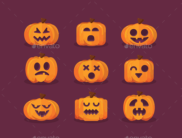 Halloween Set of pumpkin Face Icon - Halloween Seasons/Holidays