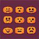 Halloween Set of pumpkin Face Icon