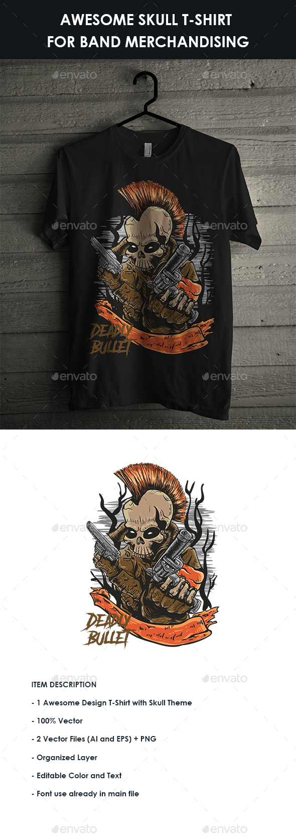 GraphicRiver Awesome Skull T-Shirt For Band Merchandising 20541016