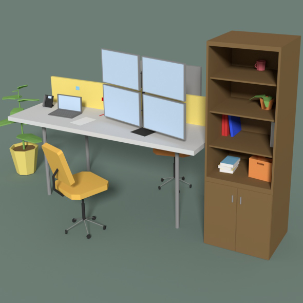 Low Poly Cartoony Office Desk 2 - 3DOcean Item for Sale