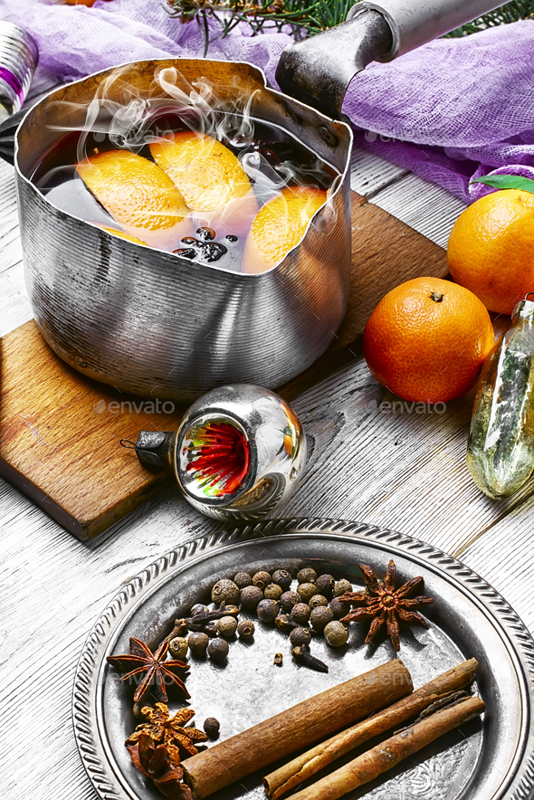 Hot wine with oranges - Stock Photo - Images