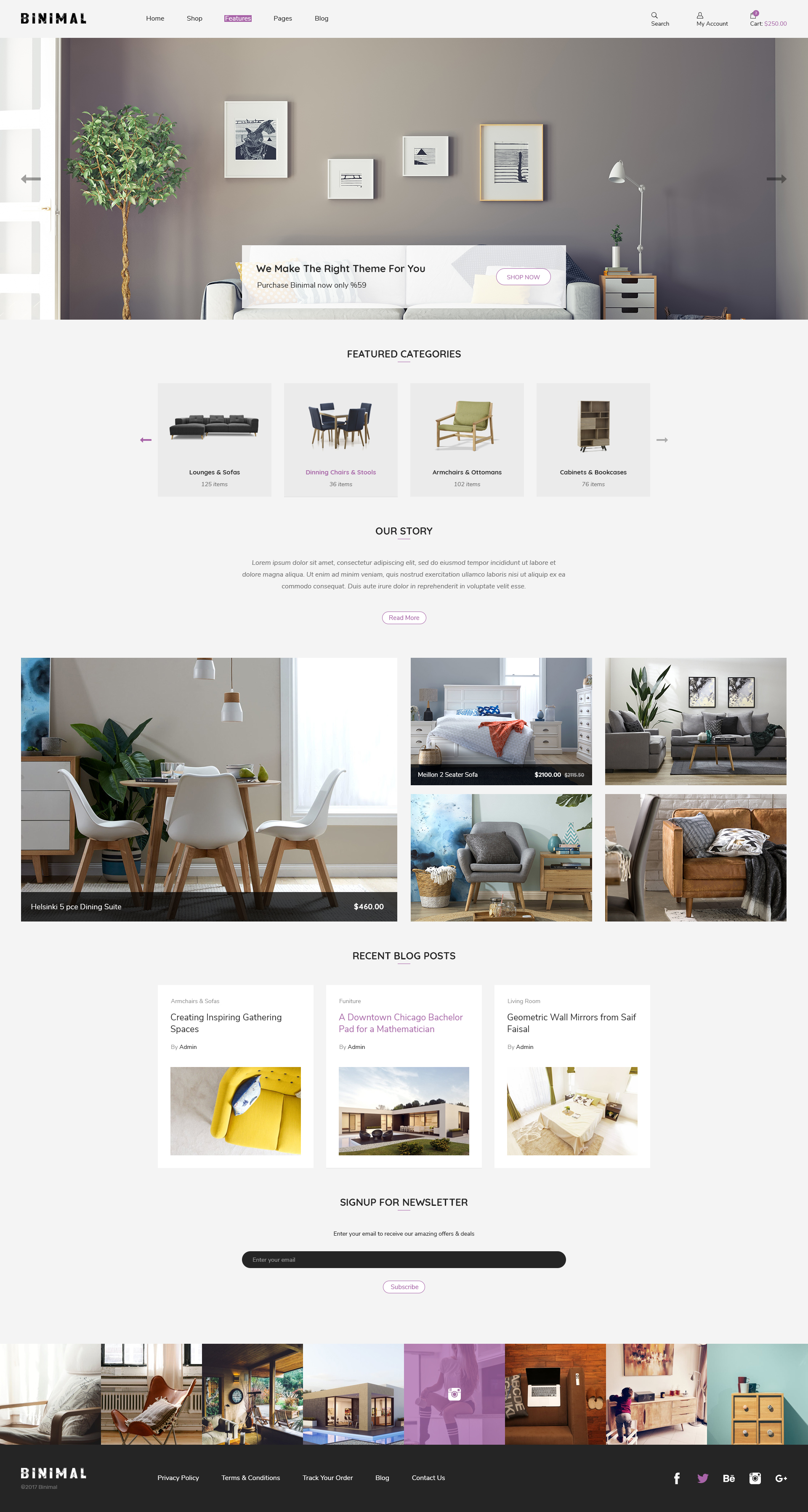 Binimal minimalist ecommerce psd template by vianko for Minimalist homepage