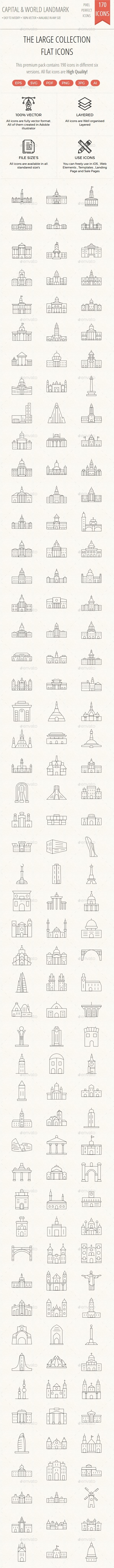 150+ Capital and World Landmarks thin line icons - Web Icons