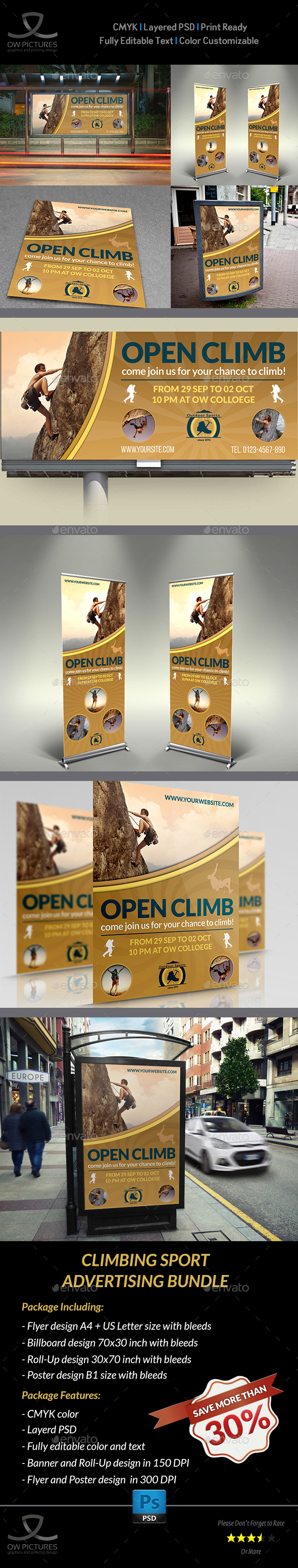 Climbing Sport Advertising Bundle - Signage Print Templates
