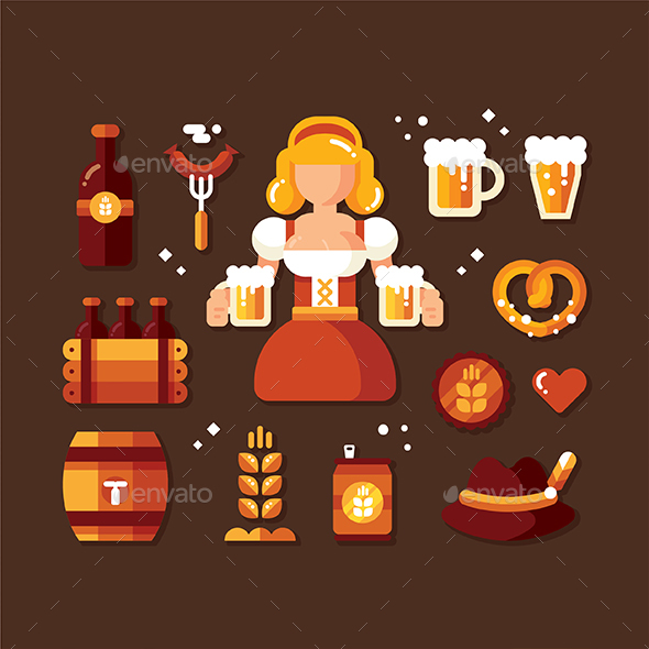 October Festival Icon set - Seasons/Holidays Conceptual