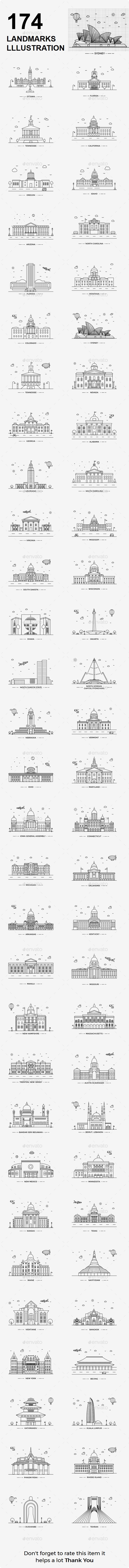 Capital Landmarks Illustration - Icons