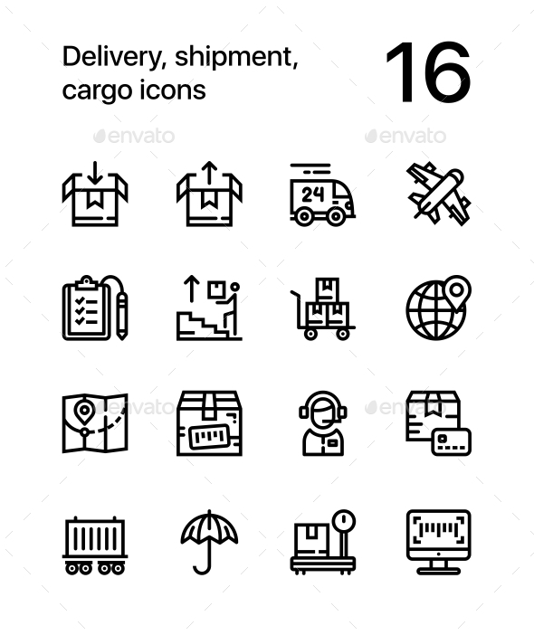 Delivery, Shipment, Cargo Icons for Web and Mobile Design Pack 2 - Icons
