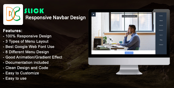 Slick Responsive Navbar Design By Designcollection Codecanyon