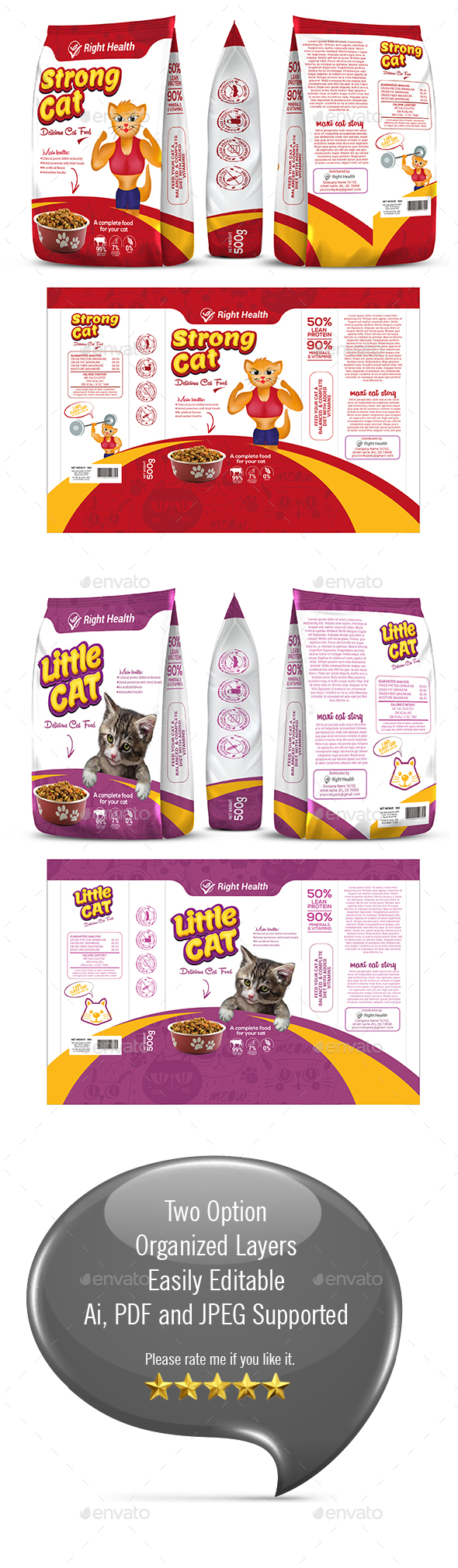 Cat Supplement Packaging Template-05 - Packaging Print Templates