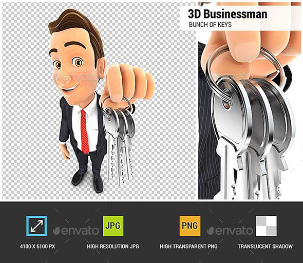 3D Businessman Holding a Bunch of Keys - Characters 3D Renders