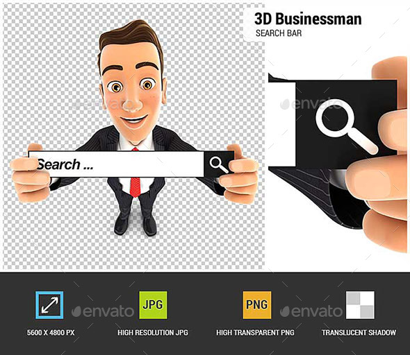 3D Businessman Holding a Search Bar - Characters 3D Renders