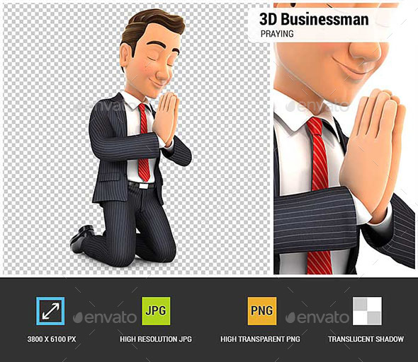 3D Businessman on his Knees Praying - Characters 3D Renders