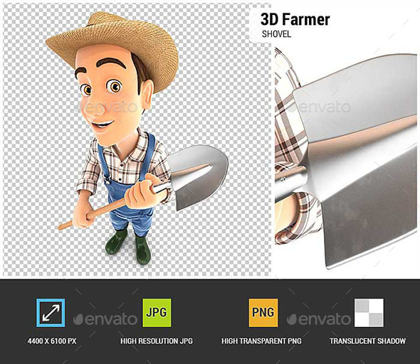 3D Farmer Holding a Shovel - Characters 3D Renders