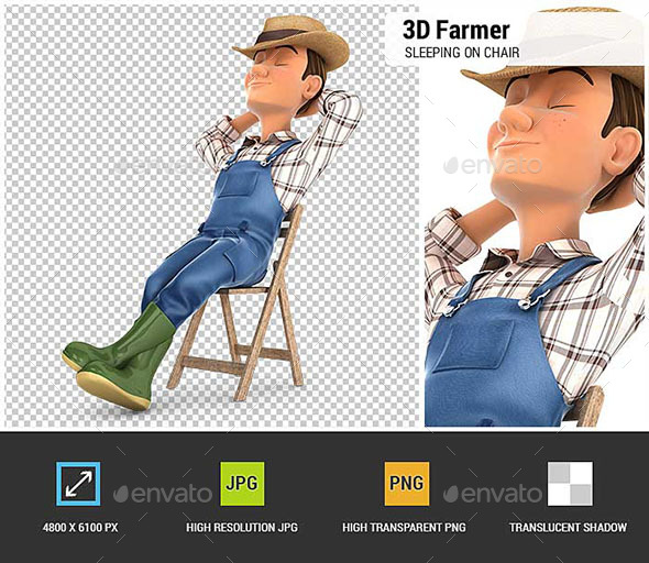 GraphicRiver 3D Farmer Sleeping on Chair 20542929