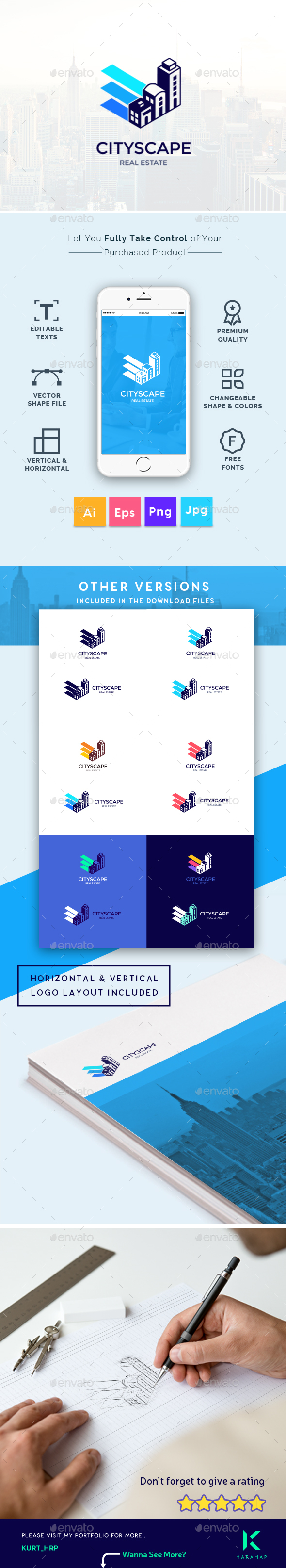 Cityscape - City, Real Estate, Building Property, Creative Logo Template