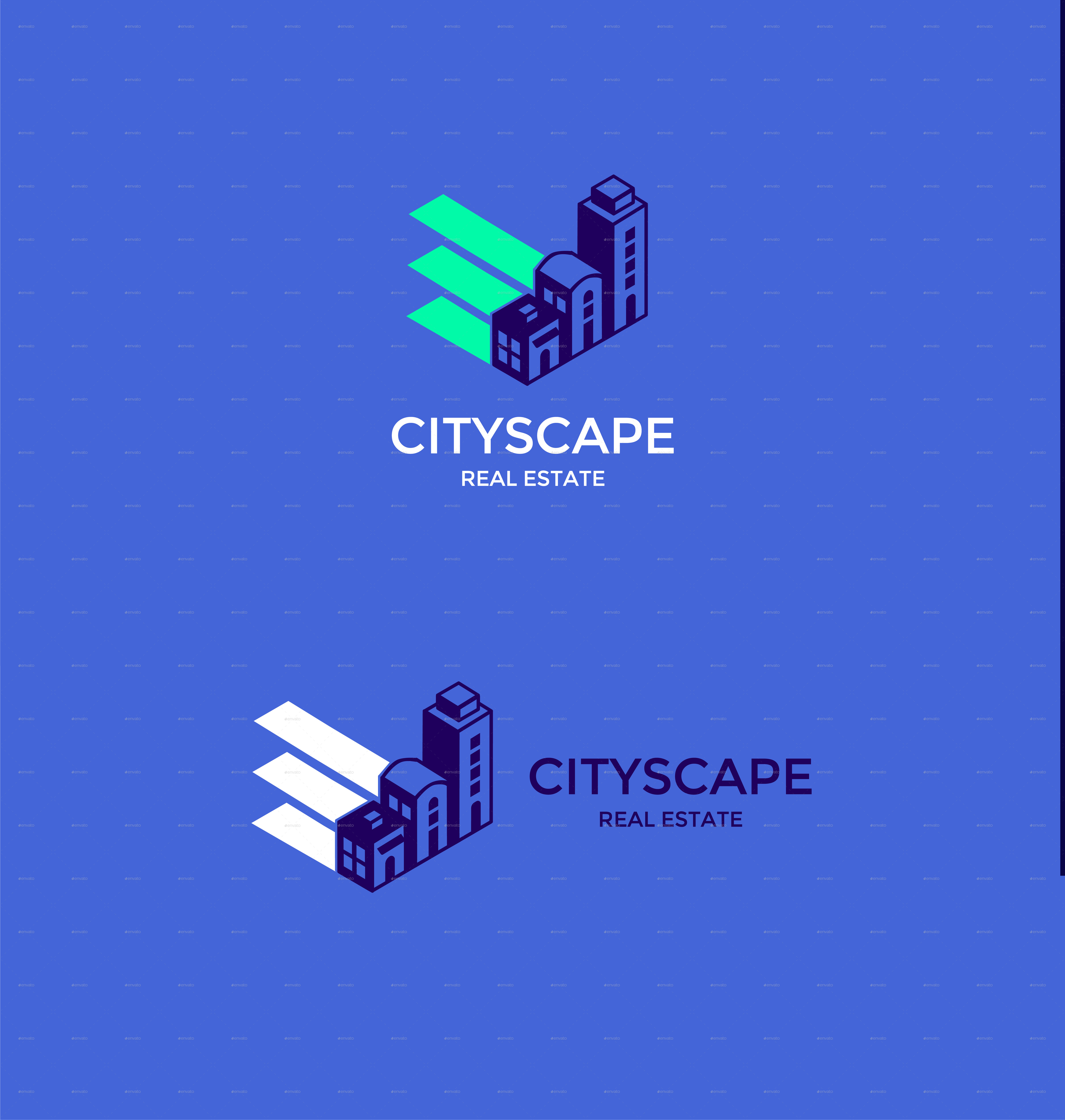 Real Estate Logo With Buildings And Stationery Items