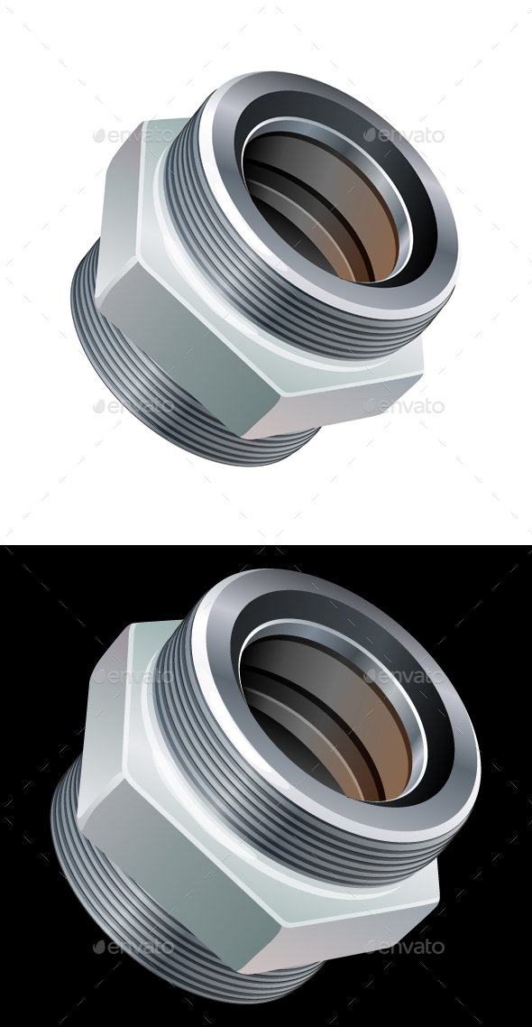GraphicRiver Threaded Connector Coupling Icon Illustration 20543271