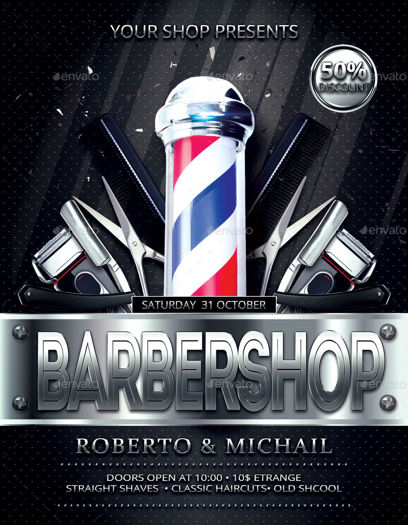 Barber Shop Flyer And Poster By Oloreon Graphicriver