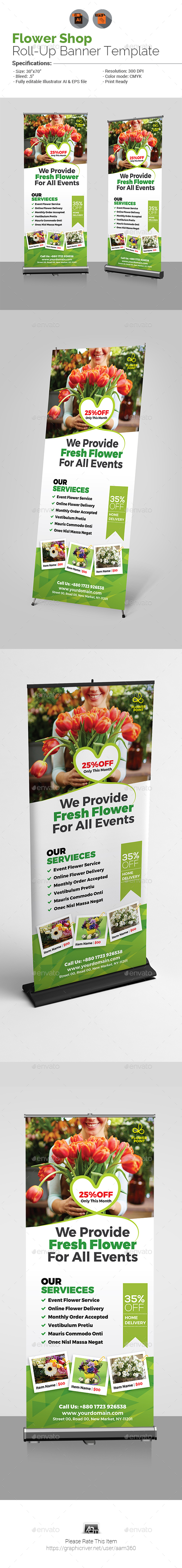 Flower Shop Billboard Template - Signage Print Templates