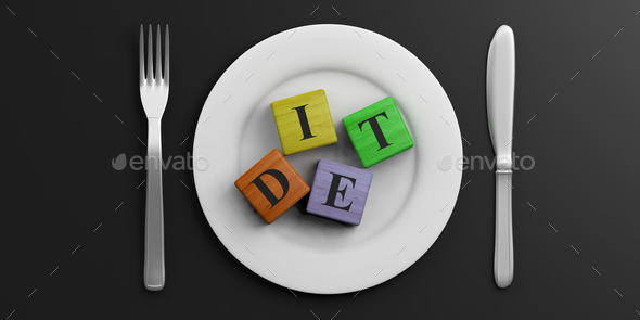Place Setting and word DIET on black background. 3d illustration - Stock Photo - Images
