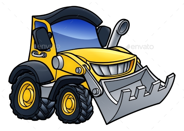 Digger Bulldozer Cartoon - Industries Business