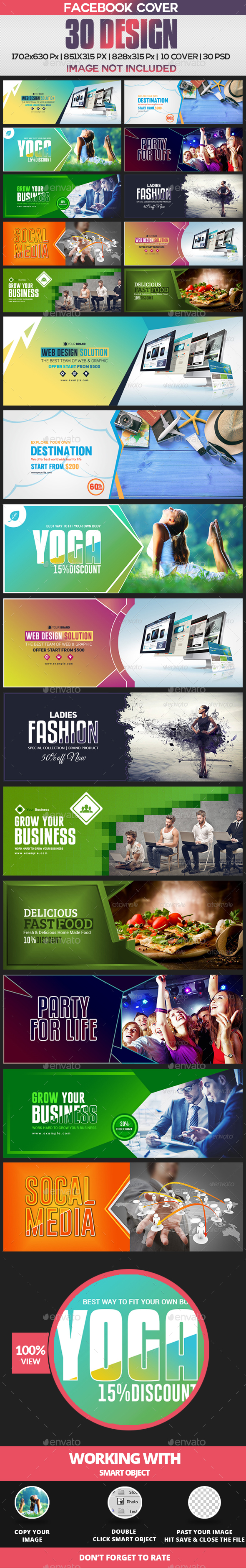 30 Facebook Cover Bundle(vol -1) - 8 Set - Facebook Timeline Covers Social Media