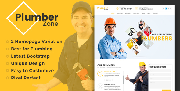Plumber Zone - Plumbing, Repair & Construction HTML Template - Business Corporate
