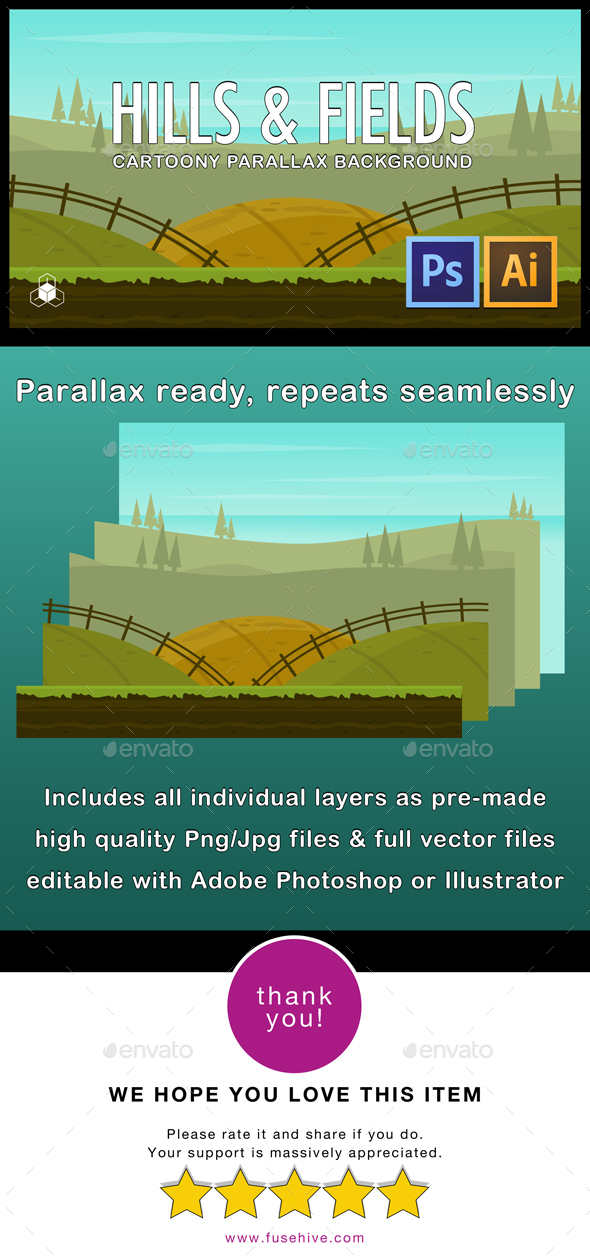 2D Hills and Fields - Cartoony Nature Parallax Background - Backgrounds Game Assets