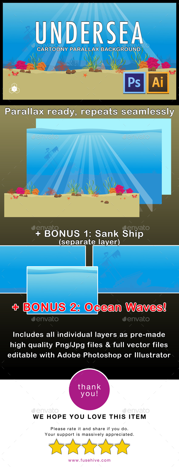 Under Sea - 2D Cartoony Water Parallax Ocean Background - Backgrounds Game Assets