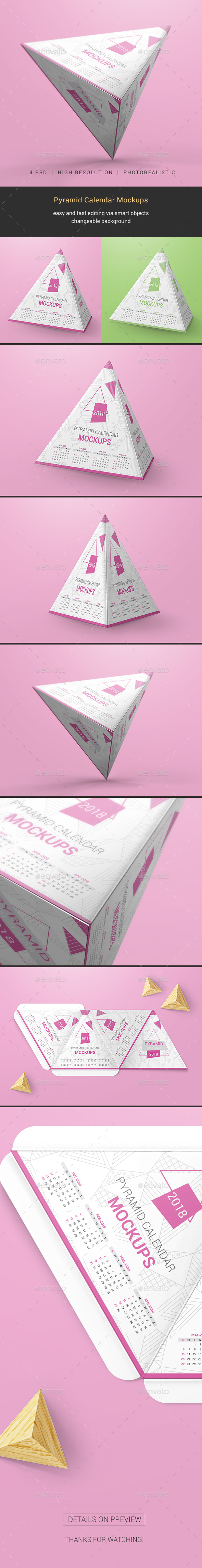 Pyramid Calendar Mockups - Miscellaneous Print