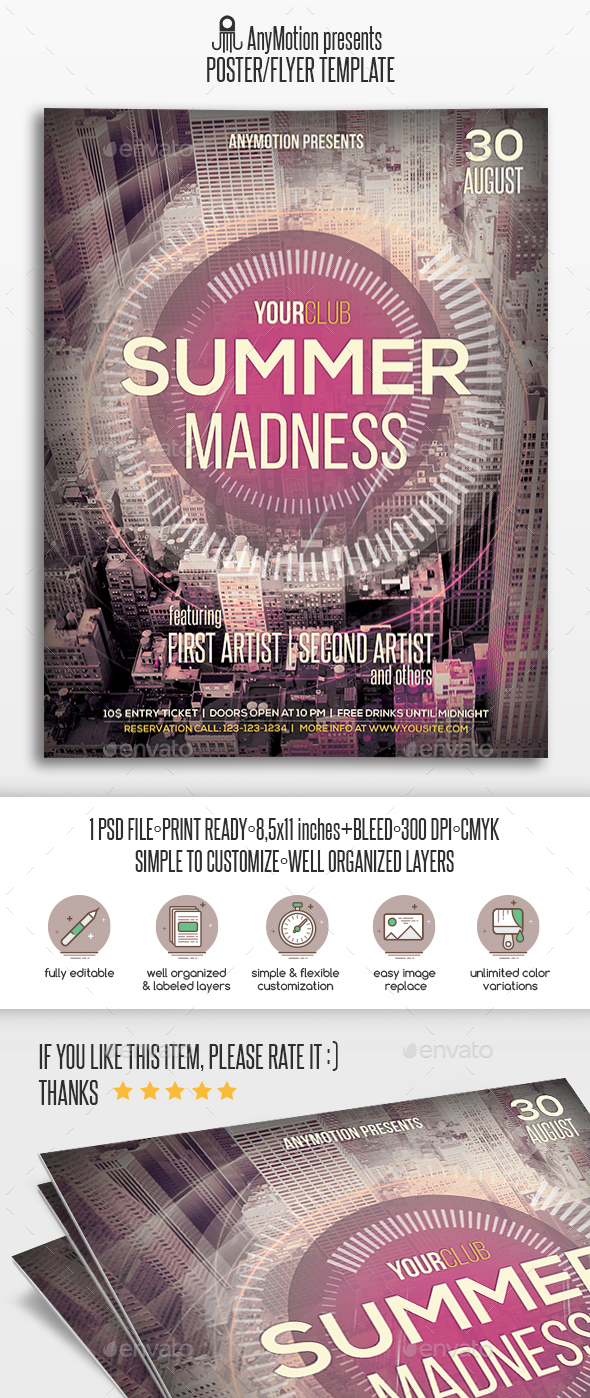 Summer Madness Flyer / Poster Print Template - Clubs & Parties Events