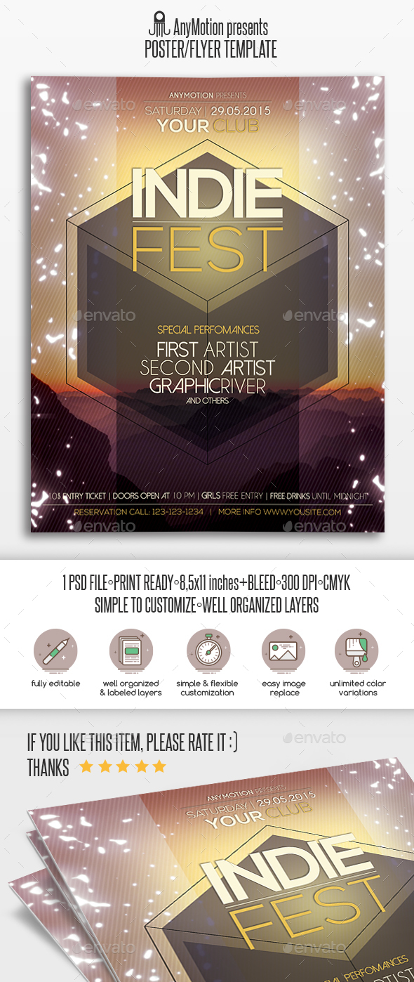Indie Party Flyer / Poster Print Template - Clubs & Parties Events