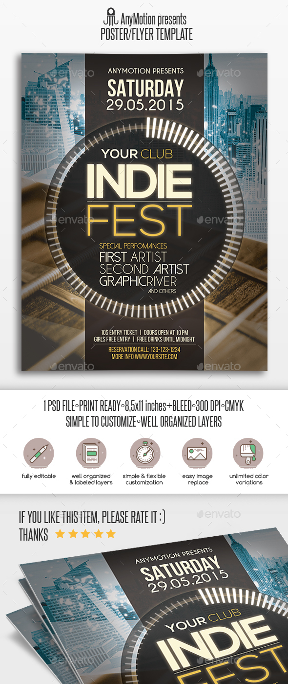 Indie Fest Flyer | Poster - Clubs & Parties Events