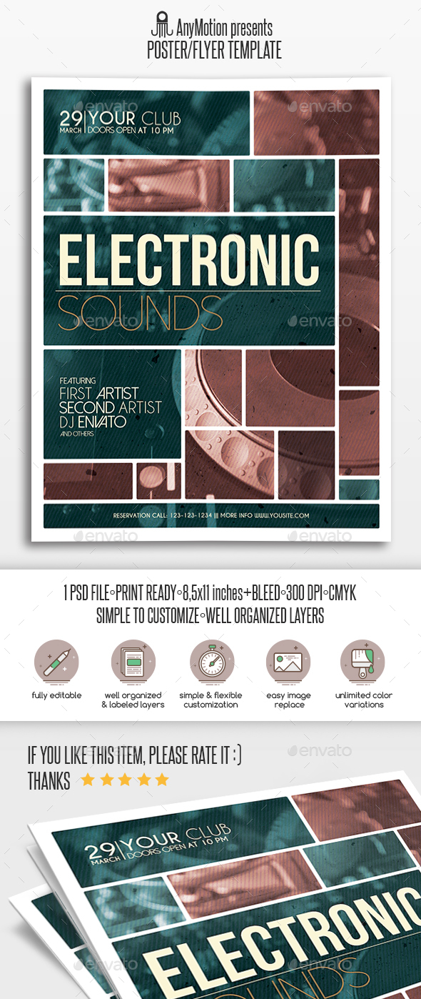 Electronic Sounds Party Flyer - Clubs & Parties Events