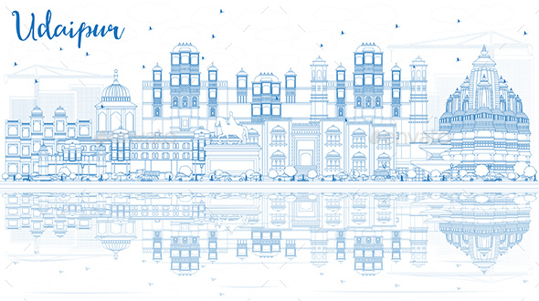 Outline Udaipur India Skyline with Blue Buildings and Reflections. - Buildings Objects