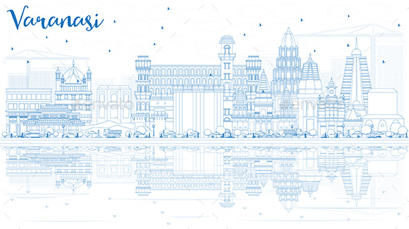 GraphicRiver Outline Varanasi India Skyline with Blue Buildings and Reflections 20545070