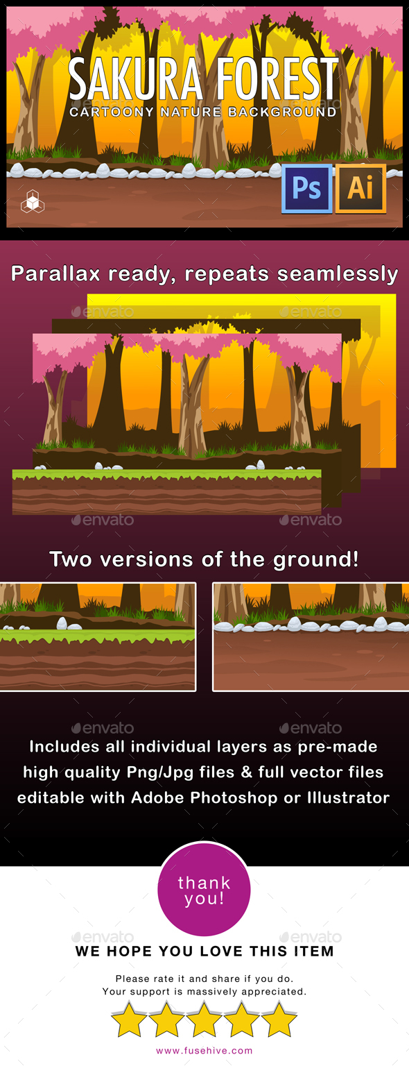 2D Sakura Forest - Cartoony Parallax Nature Background - Backgrounds Game Assets