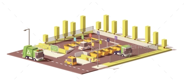 Vector Low Poly Waste Collection Center - Man-made Objects Objects